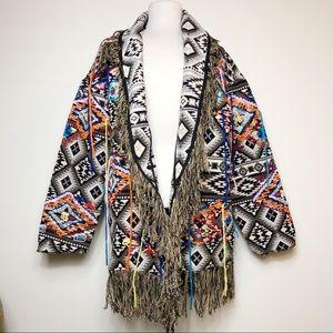 Zara Oversized Embroidered Boho Festival Jacket